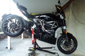 Ducati Diavel X on abba Sky Lift (stoppie position)