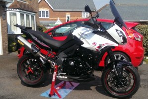 abba Superbike Stand on Triumph Tiger Sport