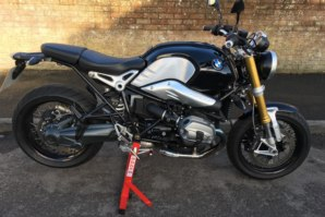 BMW R nineT on abba paddock stand lift (right side)