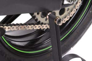 Lifting strap fitted around bobbin adapter (Conventional, twin sided swing arm bikes)